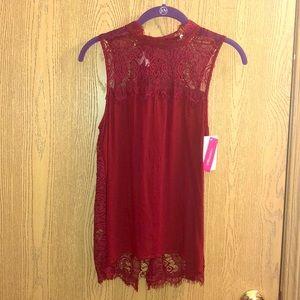 Red Lace Split Back Shirt